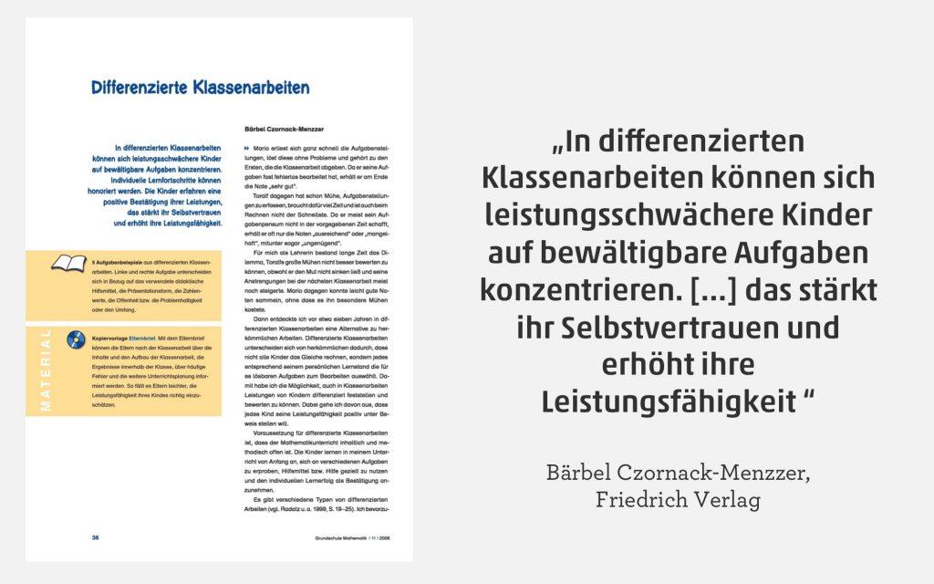 Spaltenmodell und Co: Differenzierte Klassenarbeiten | meinUnterricht.de