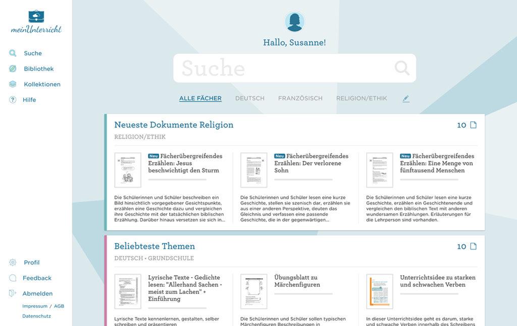 Die persönliche Startseite von meinUnterricht.de