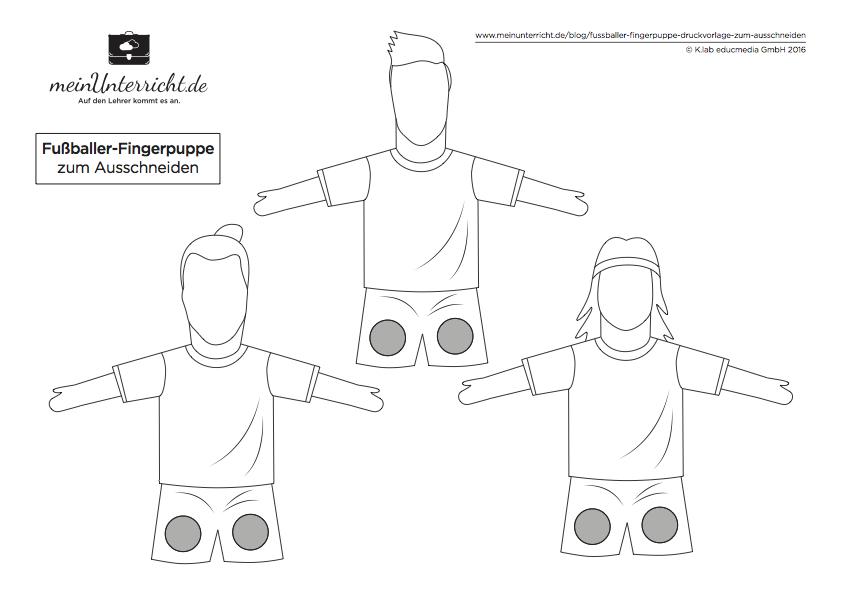 Druckvorlage: Fußballer-Fingerpuppe zum Ausschneiden