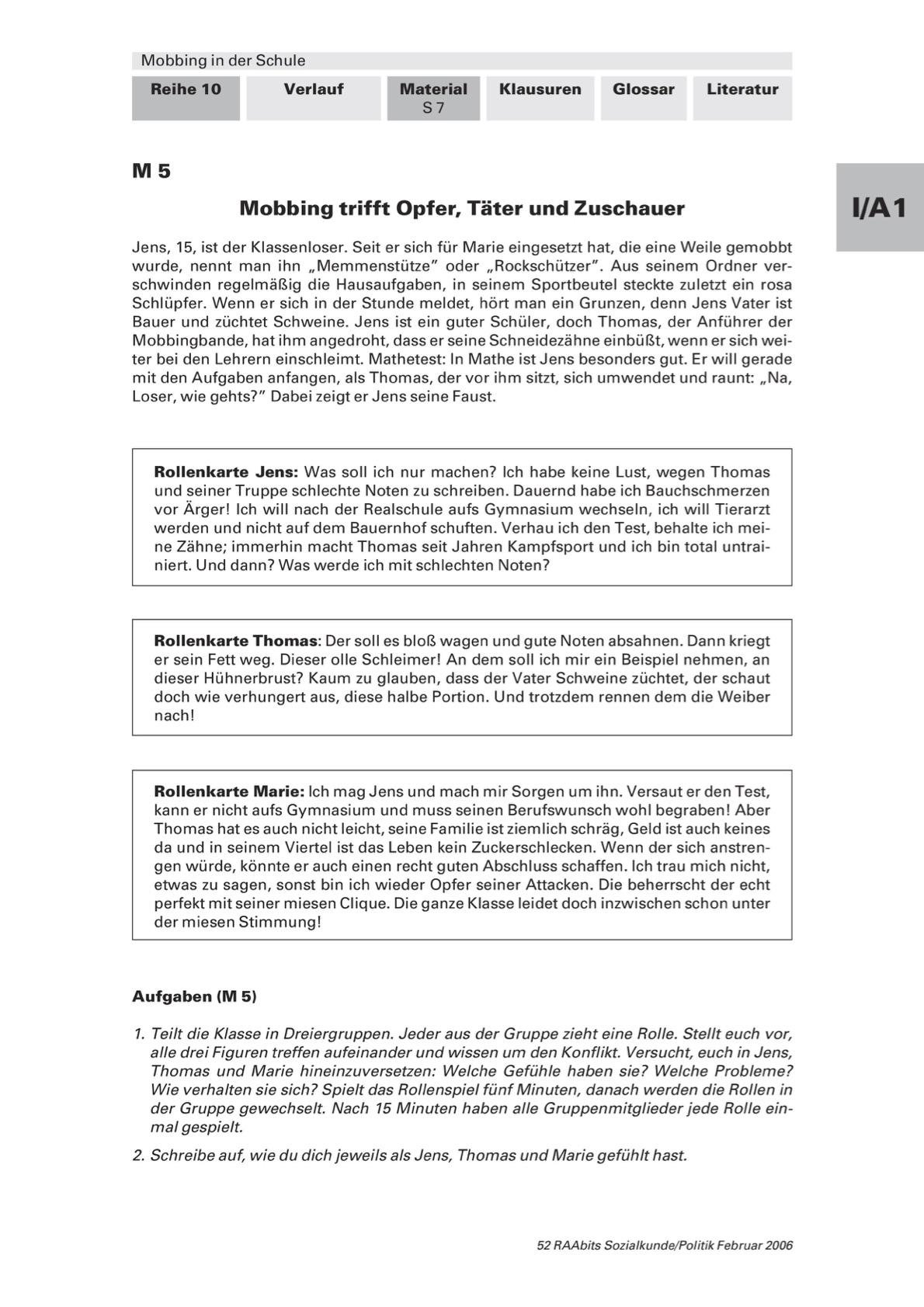 Rollenkarten zum Thema Mobbing in der Schule