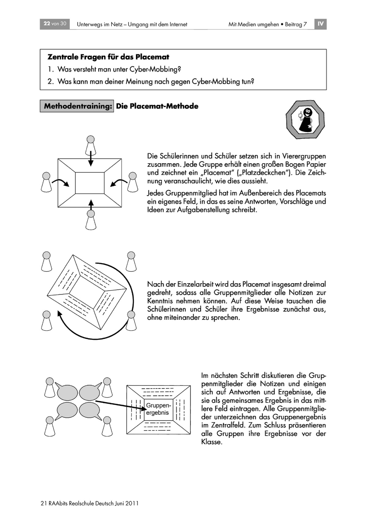 Das Thema Mobbing in der Schule mit der Placemat-Methode bearbeiten