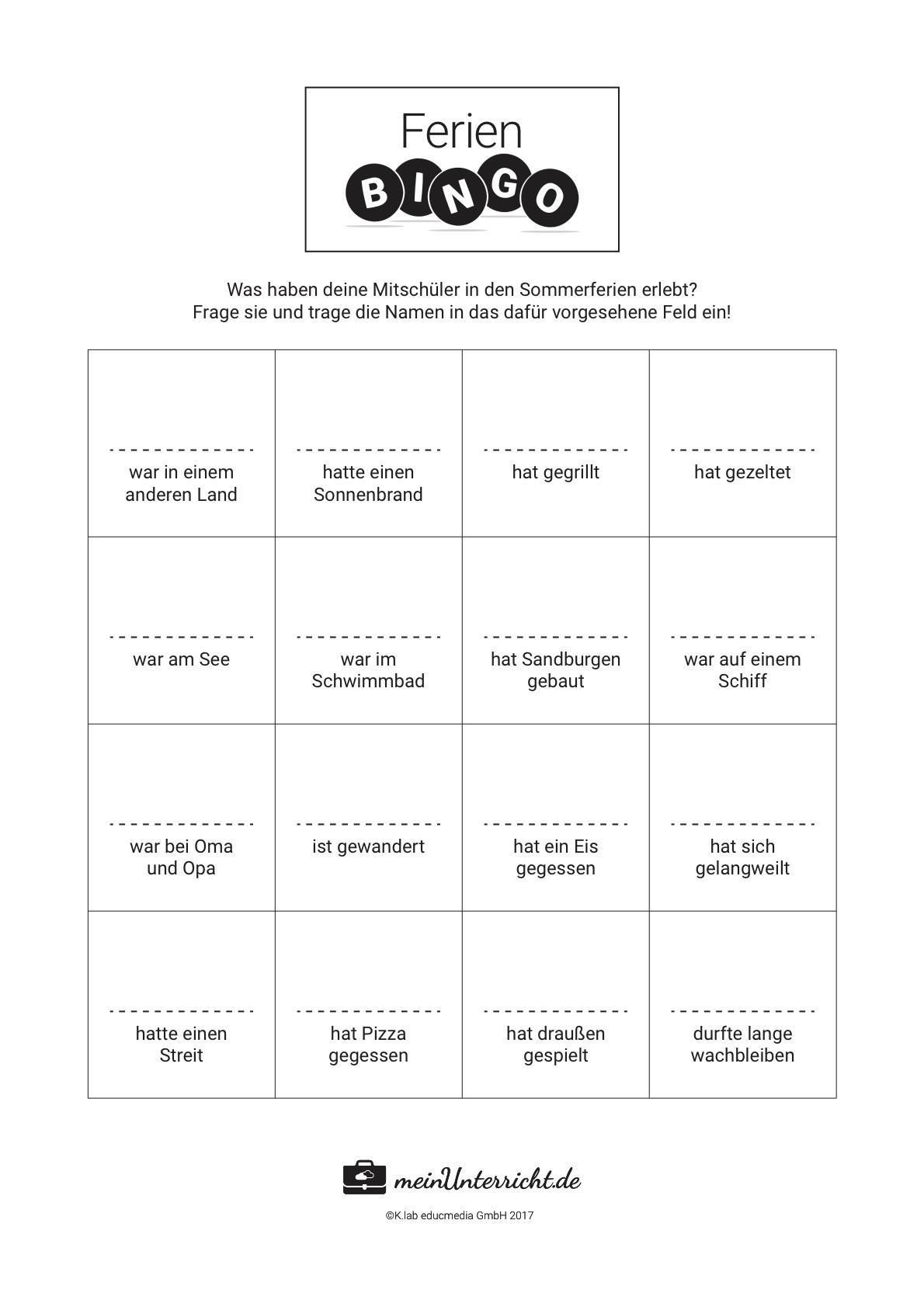 Ferienerlebnisse schreiben: Bingo für die Grundschule