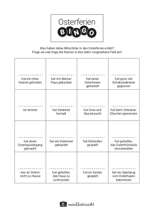 Osterferien Bingo Druckvorlage