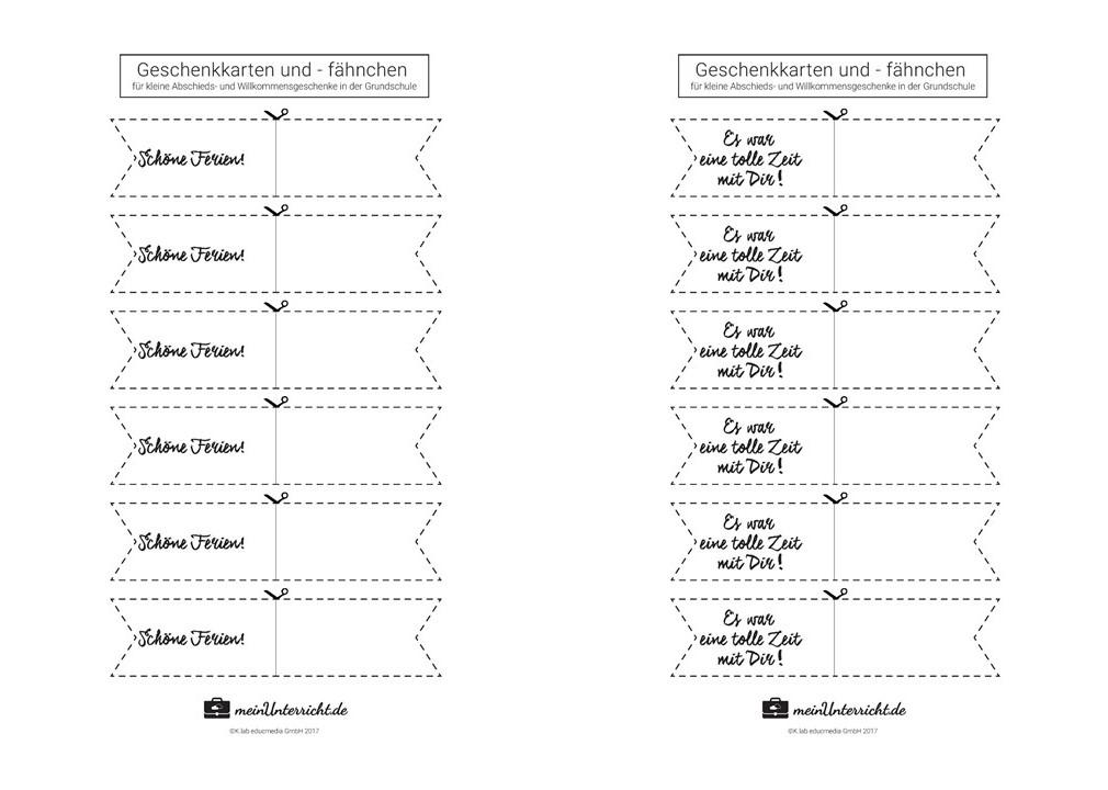 Geschenke für Schüler: Fähnchen-Druckvorlage