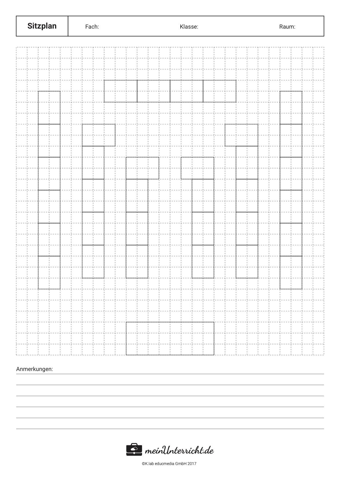 Sitzordnung in der Schule: abgewandelte U-Form