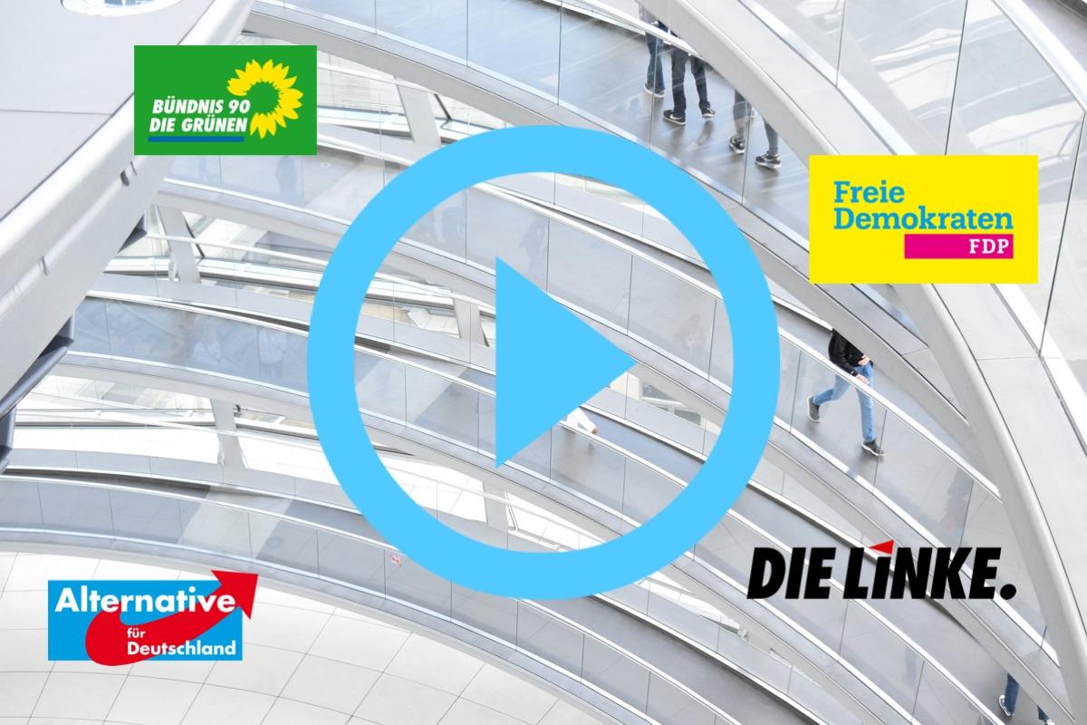 """Bundestagswahl 2017 Unterrichtsmaterial: Video """"Die Linke, Die Grünen, FDP und AfD – Wofür steht welche Partei?"""""""