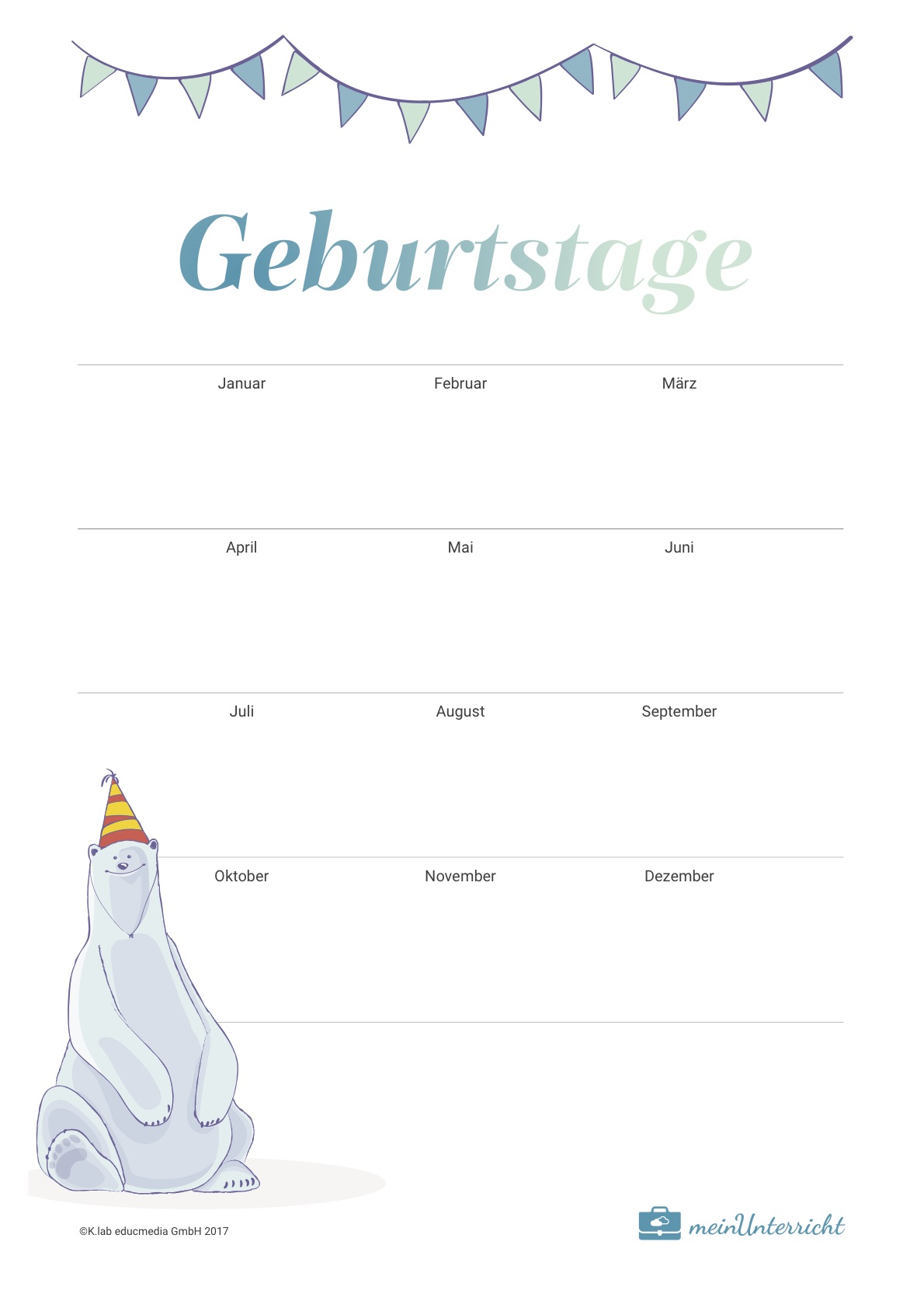 Druckvorlage: Geburtstagkalender