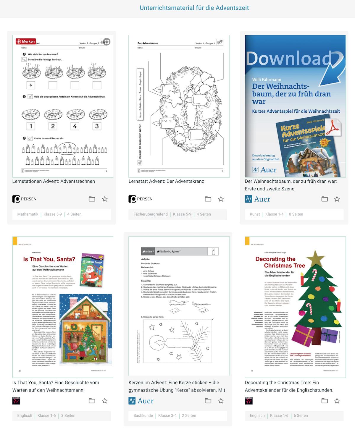 Unterrichtsmaterial Advent und Weihnachten
