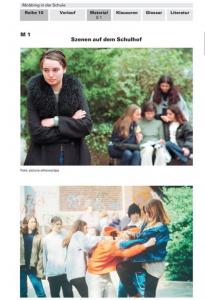 Auf dem ersten Bild steht ein Mädchen im Vordergrund, hinter ihr sind vier andere Mädchen, die lästern. Auf dem zweiten Bild wird ein Junge von einer Gruppe geschlagen. Das Thema dieses Abschnittes ist Mobbing auf dem Schulhof.