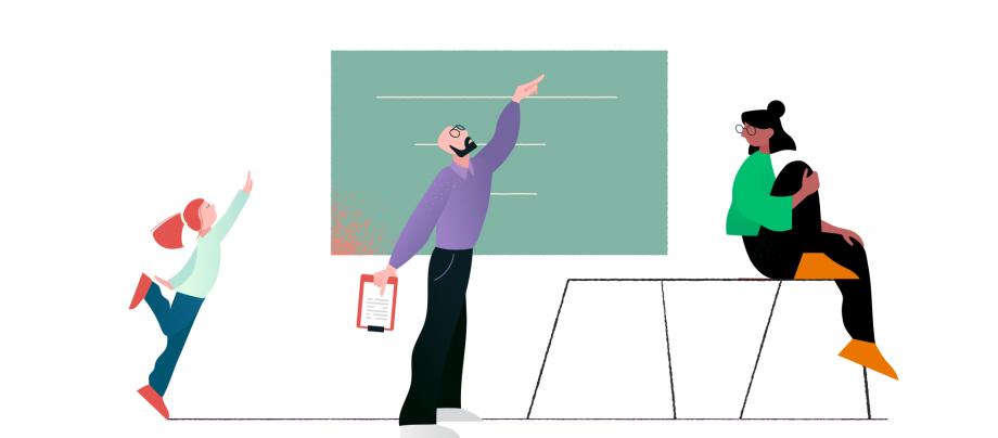 Lehrer und zwei Schülerinnen geben sich Feedback
