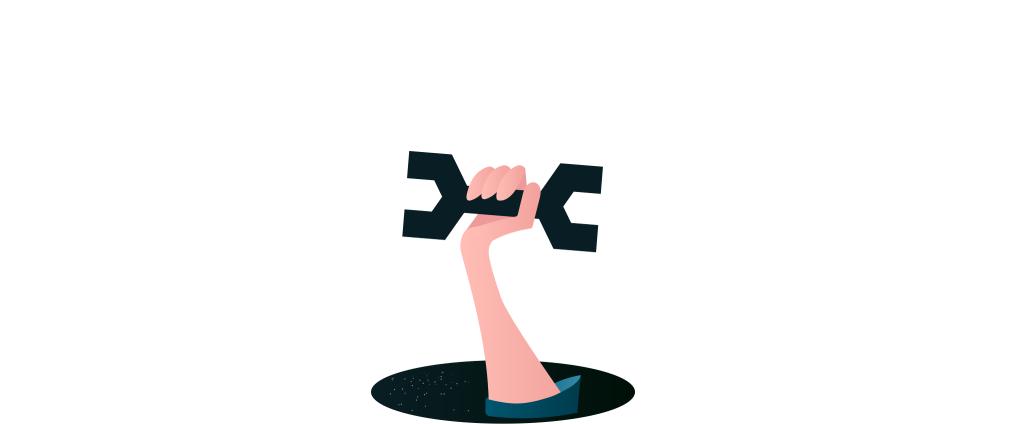 Das Bild zeigt einen Arm, der ein Werkzeug in der Hand hält und aus einem Loch im Boden hervorragt.