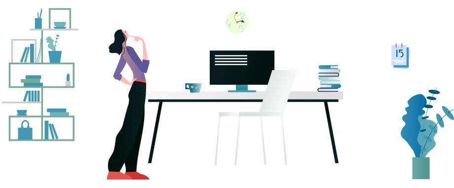 Eine Frau steht im Arbeitszimmer vor dem Computer und ist nachdenklich. In diesem Beitrag werden hilfreiche Tipps für Lehrkräfte zum Thema Unterrichtsplanung vorgestellt.
