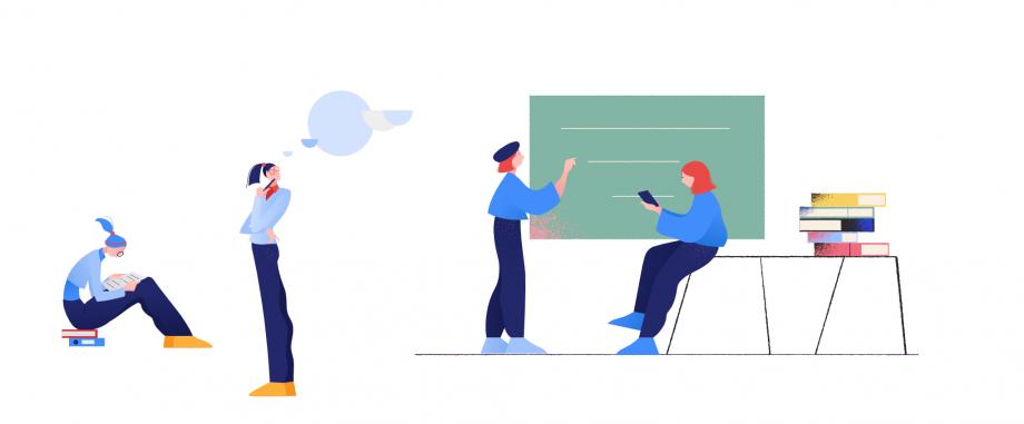 Auf dem Foto sind vier illustrierte Frauen abgebildet, die verschiedenen Tätigkeiten nachgehen. In diesem Beitrag geht es um Projektarbeit im Unterricht.
