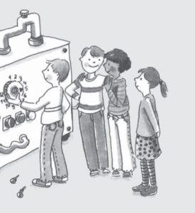 Vier Kinder stehen vor einer großen Maschine und lächeln