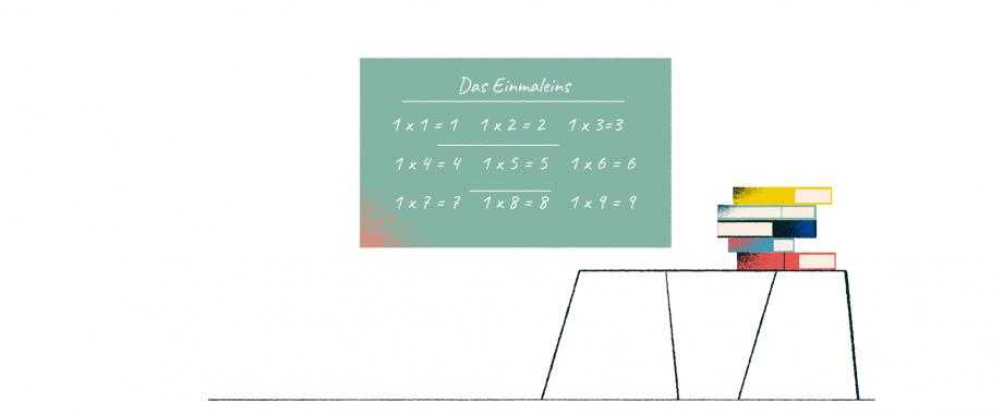 Das Bild zeigt ein Klassenzimmer. An der Tafel steht das kleine Einmaleins.