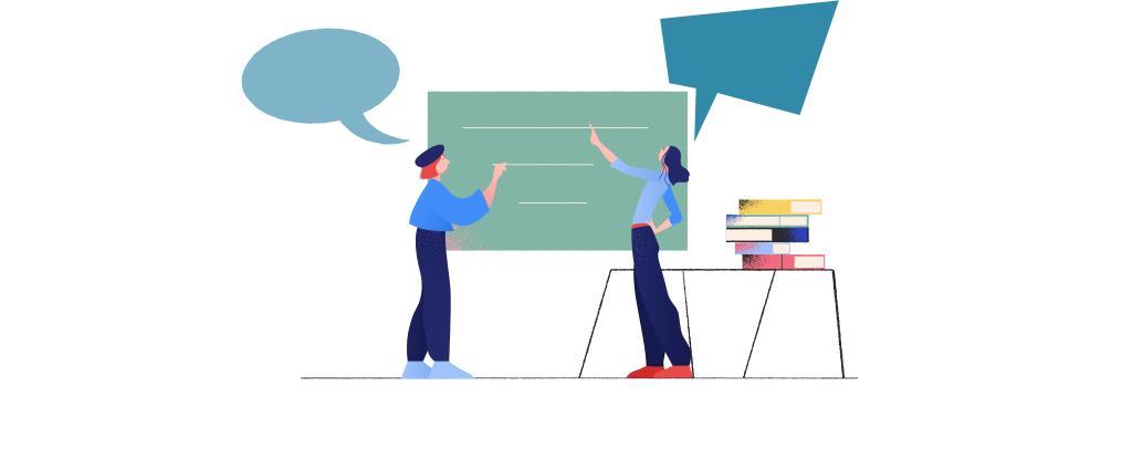 Auf dem Bild stehen zwei Mädchen vor der Tafel und sprechen. In dem Beitrag geht es um Methoden zur Bewertung mündlicher Leistungen in der Schule.