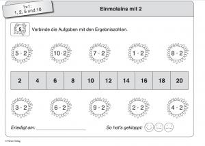 Arbeitsblatt zum Erlernen des Einmaleins mit 2.