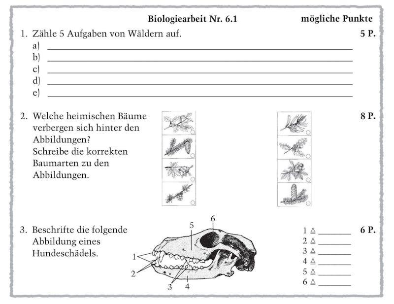 Auf dem Bild sind Beispiele von Aufgaben im Biologieunterricht dargestellt. Diese Materialien zeigen dir, wie du Lernerfolgskontrollen durchführen kannst.