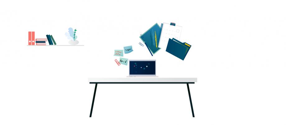 Auf einem Tisch steht ein Laptop, darüber sind Hefte und Bücher zu sehen. In dem Beitrag geht es um die Methodenvielfalt. Wir zeigen dir, welche Lehrmethoden du im Unterricht einsetzen kannst.