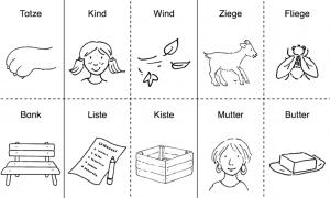 Auf dem Bild ist das Spiel Reim-Domino abgebildet. Die Kinder müssen zu der jeweiligen Abbildung die passende Domino-Karte anlegen, um einen Reim zu bilden