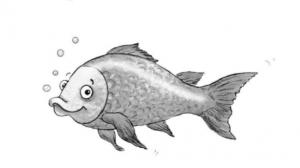 Auf dem Bild ist ein Fisch abgebildet. Bei diesem Spiel müssen Schüler und Schülerinnen die Verse eines Gedichts richtig anordnen.