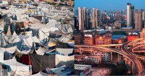 Das Bild zeigt zwei unterschiedliche Städte. Auf der linken Seite ist ein Slum, auf der rechten eine moderne Großstadt. Die Globalisierung beeinflusst sowohl wirtschaftliche, politische als aus kulturelle Bereiche