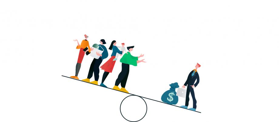 Diese Illustration verdeutlich das Prinzip der sozialen Ungleichheit: Auf einer Seite einer Waage stehen viele Menschen, auf der anderen nur ein Mensch mit einem großen Geldsack. In diesem Beitrag geht es darum, wie die soziale Ungleichheit durch die Corona-Pandemie zugenommen hat und wie sie auch die Schule verändert.