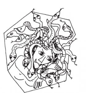 Auf dem Bild sieht man Medusa. Bei der Freiarbeit im Deutschunterricht kannst du interessante Texte über Fabelwesen einsetzen.