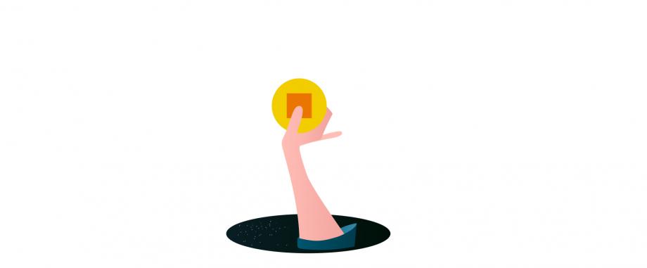 Das Bild zeigt einen Arm, der eine Münze in der Hand hält und aus einem Loch im Boden hervorragt.