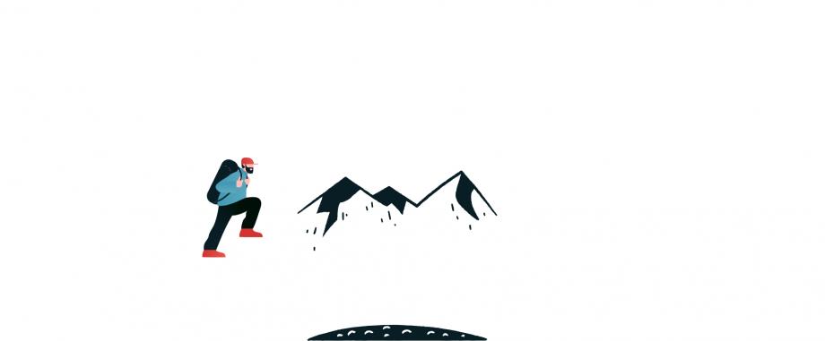 Das Bild zeigt einen Berg und einen Wanderer, der diesen Berg besteigen möchte.