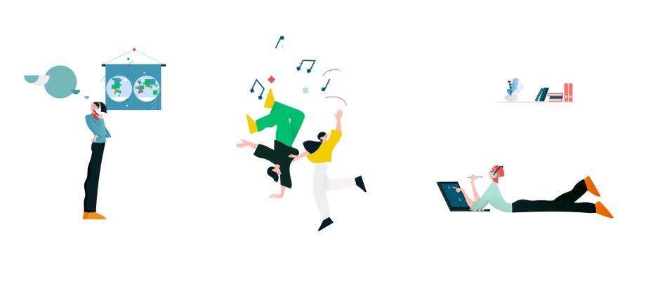 Eine Illustration, auf der eine Frau vor einer Landkarte steht, eine arbeitet mit einem Tablet und zwei Jugendliche tanzen. Das Thema dieses Beitrags ist Freiarbeit im Unterricht.
