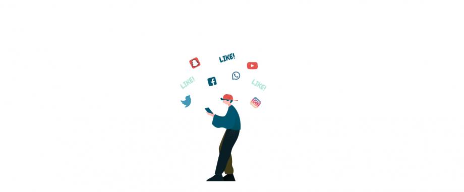 Das Bild zeigt einen Jugendlichen mit einem Smartphone in der Hand. Um seinen Kopf schwirren verschiedene Logos bekannter Apps.