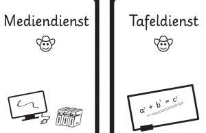 Auf der linken Seite des Bildes sieht man das Wort Mediendienst, darunter steht ein Computer. Rechts steht Tafeldienst. Rituale im Unterricht können für eine ruhige Lernumgebung sorgen.