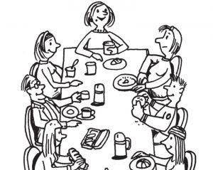 Lehrer und Lehrerinnen sitzen gemeinsam am Tisch und lachen. Es ist wichtig, in den Pausen abzuschalten und etwas Gutes für die mentale Gesundheit zu tun.