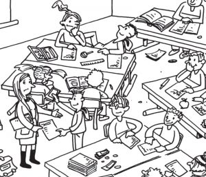 Ein Klassenzimmer mit unruhigen Schülern und Schülerinnen