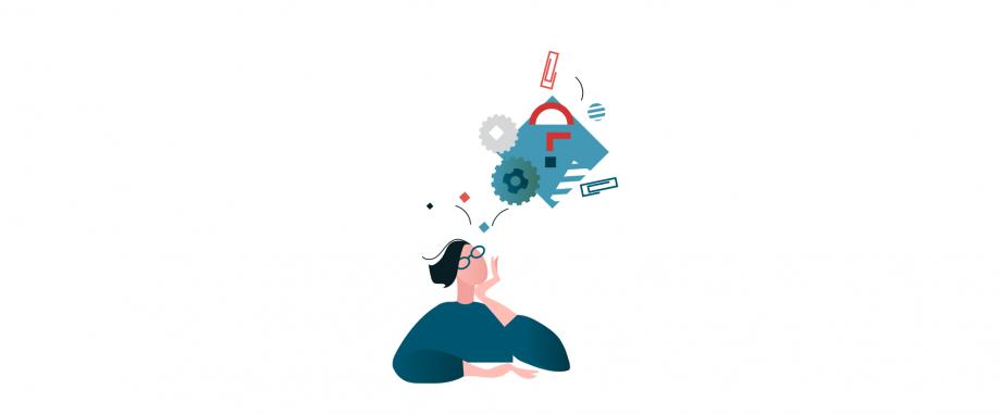 Eine Illustration mit einer Person, die eine Gedankenblase mit verschiedenen Gegenständen über ihrem Kopf hat.